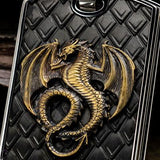 Hollis Bahringer Kingdom Dragon Dog Tag Black Steel Necklace Close-up