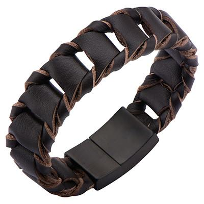 La Scala Mens Leather Bracelet with Dark Brown Leather Links