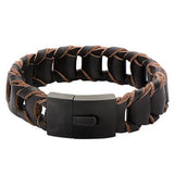 La Scala Mens Leather Bracelet with Dark Brown Leather Links 2