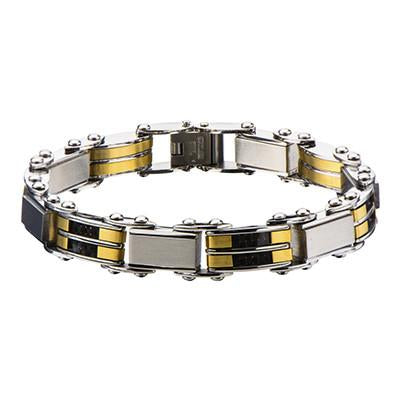 Reversible Mens Bracelet LUCKY DOUBLE Black and Gold Steel