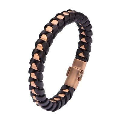 Golden Night Rose Gold IP Steel Black Leather Wrap Bracelet