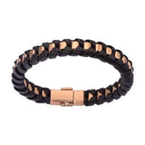 Golden Night Rose Gold IP Steel Black Leather Wrap Bracelet Alt View
