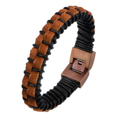 Brown and Black Leather THE MATADOR Mens Bracelet