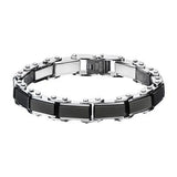 Mens Reversible Black and Steel Bracelet DOUBLE TIME