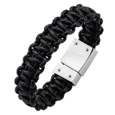 Braided Cord Bracelet for Men HURRICANE in Black Leather
