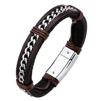 Curb Link and Leather Mens Bracelet THE OFF-ROADER