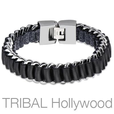 Mens Bracelet ROLL-UP Black Leather and Stainless Steel