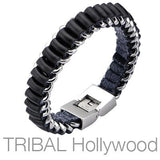 Mens Bracelet ROLL-UP Black Leather and Stainless Steel Alternate View