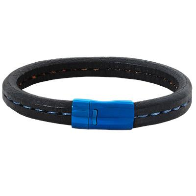Metallic Blue Steel FROSTBITE Mens Black Leather Bracelet