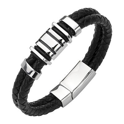 Mens Black Leather Bracelet CORSAIR with Stainless Steel