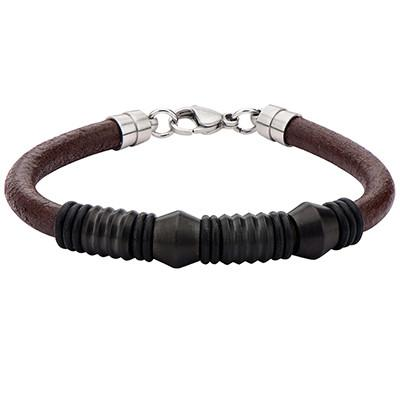 Corrugated Barrel Steel Beads Mens Brown Leather Bracelet