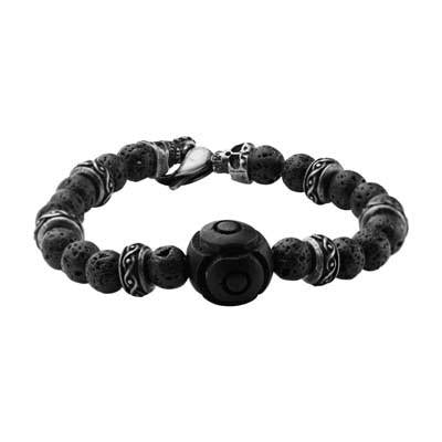 Vesuvio Big Rock Black Lava Steel Skulls Mens Bead Bracelet