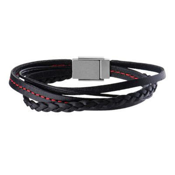 4x4 Black Four Cord Multi-Style Leather Mens Bracelet