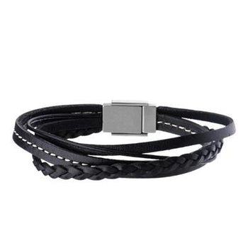 Triple Threat Black Three Cord Mens Leather Bracelet