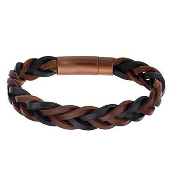 Mens Leatherccino Bracelet Black and Brown Braided Leather 1