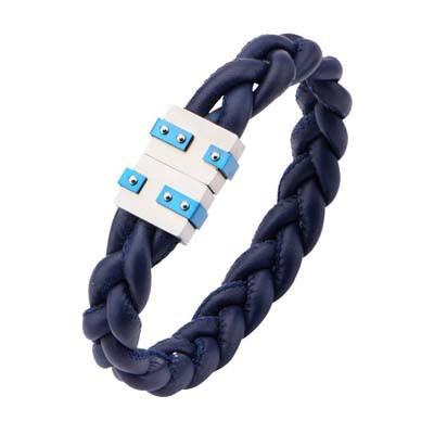 Blu Corda Dark Blue Modern Steel Mens Leather Bracelet