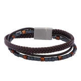 Stoned Leather Triple Cord Hematite Mens Leather Bracelet