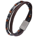 Stoned Leather Triple Cord Hematite Mens Leather Bracelet Alt View