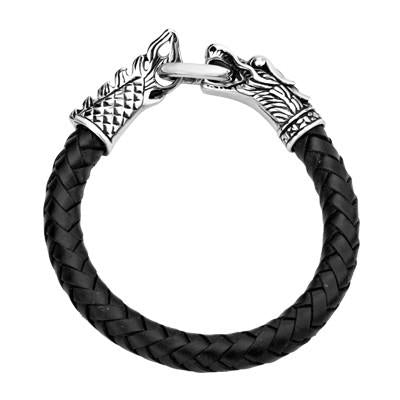 Dragon Bracelet for Men DRAGOON in Leather and Steel Top View