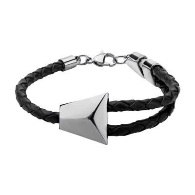 Triangolo Steel Triangle Modern Mens Black Leather Bracelet