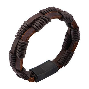 Nightrope Mens Leather Bracelet in Dark Brown