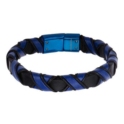 Blue Night - Blue and Black Woven Mens Leather Bracelet