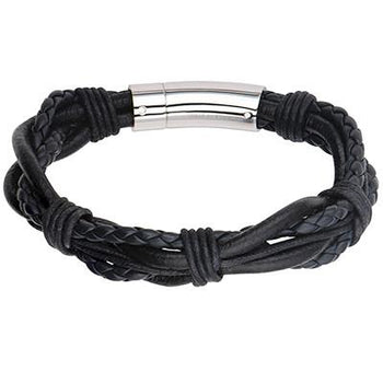 Array Black Multi-Cord Bohemian Mens Leather Bracelet