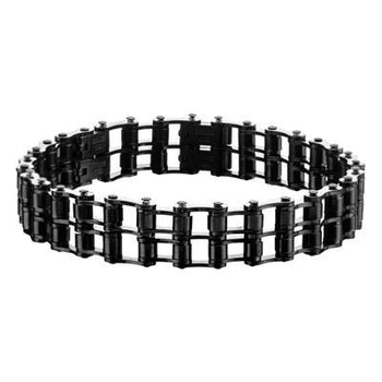 Biker Chain Mens Bracelet MOTOR CITY Black Steel