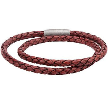 Stack Time Brick Red Double Wrap Mens Leather Bracelet