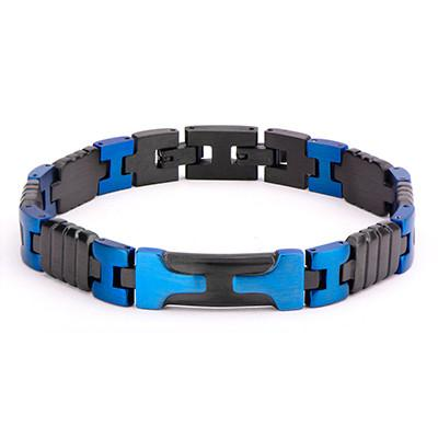 Mens Blue Dagger Blue and Black Steel Bracelet