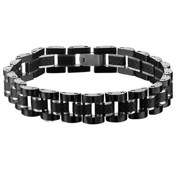 Aura Carbon Fiber Black IP Steel Modern Mens Bracelet