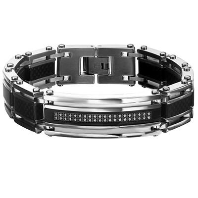 AERO Carbon Fiber Steel Modern Mens Bracelet with CZ Stones