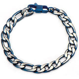 Blue Tint Natural and Blue Steel Mens Figaro Link Bracelet Top View