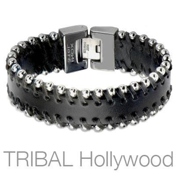 Black Leather Mens Bracelet LUCKY STUD with Steel