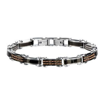 Two-Sided Bracelet DOUBLE TROUBLE Black and Rose Gold Steel