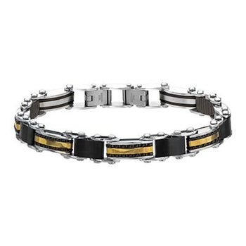 Reversible Mens Bracelet DOUBLE OMEGA Black and Gold Steel