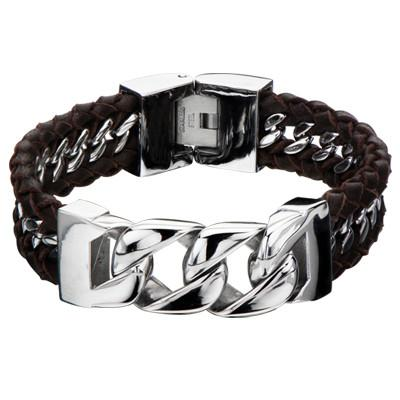 Mens Bracelet THE TRANCE Steel Chain and Brown Leather