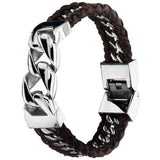 Mens Bracelet THE TRANCE Steel Chain and Brown Leather Alt View
