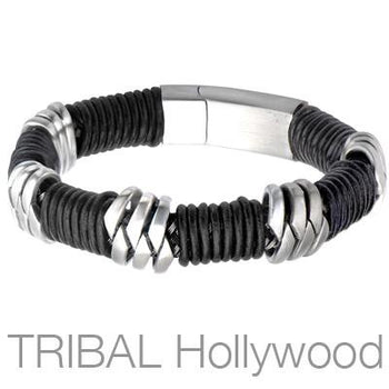 Mens Bracelet GIGAWATT with Steel and Wrapped Leather