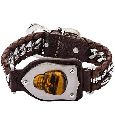 Skull Bracelet DEATH BRINGER in Brown Leather with Tiger Eye