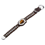 Skull Bracelet DEATH BRINGER in Brown Leather with Tiger Eye Flat View