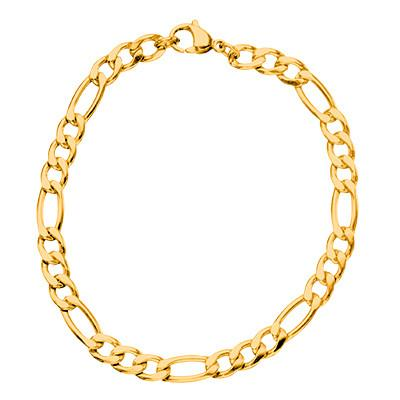 Italiano Gold IP Stainless Steel Figaro Chain Mens Bracelet
