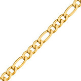 Italiano Gold IP Stainless Steel Figaro Chain Mens Bracelet Close-up View