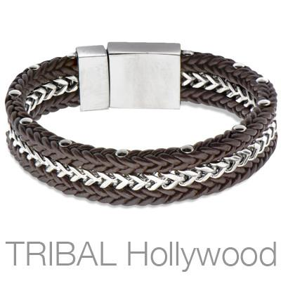 Brown Leather Mens Bracelet TANKER Steel Franco Links