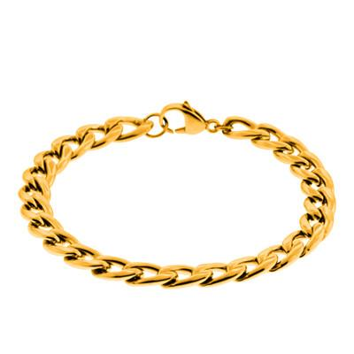 Gold Mine - Gold IP Stainless Steel Curb Link Mens Bracelet