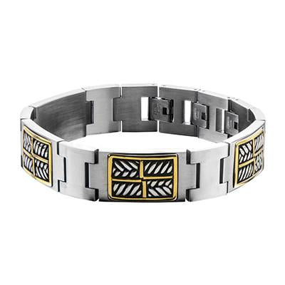 Gold Steel Mens Bracelet METROPOLITAN Stainless Steel