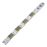 Gold Steel Mens Bracelet METROPOLITAN Stainless Steel Full View
