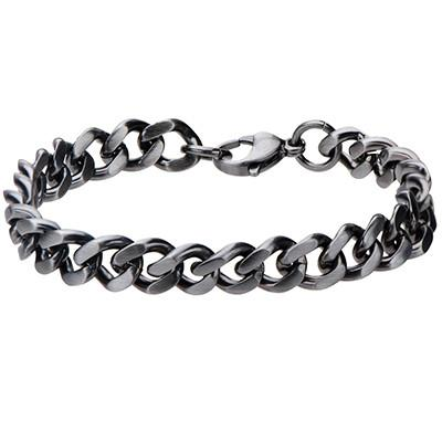 Fully Armed Gunmetal IP Steel Mens Curb Link Bracelet