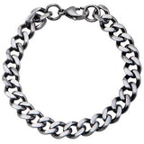 Fully Armed Gunmetal IP Steel Mens Curb Link Bracelet Alt View
