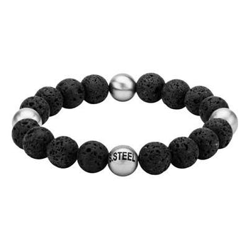Lava Bead and Steel BLACK RIVER Bracelet for Men